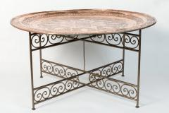 Handcrafted Moroccan Moorish Round Copper Tray Table on Iron Base - 1337945