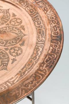 Handcrafted Moroccan Moorish Round Copper Tray Table on Iron Base - 1337949