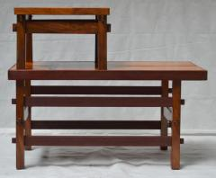 Handcrafted Studio End Table with Mixed Wood Inlay and Pegs circa 1955 - 570801
