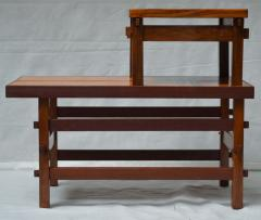 Handcrafted Studio End Table with Mixed Wood Inlay and Pegs circa 1955 - 570803