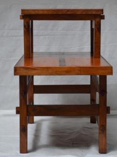 Handcrafted Studio End Table with Mixed Wood Inlay and Pegs circa 1955 - 570809