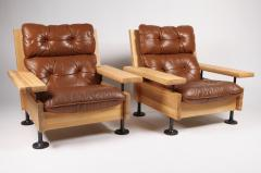 Hannu Jyr s Hannu Jyr s Pair of Unique Easy Armchairs in Oregon Pine Leather 1970s - 1604987