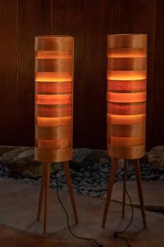 Hans Agne Jakobsson 1960s Hans Agne Jakobsson Wood Tripod Floor Lamps for AB Ellysett - 1189845