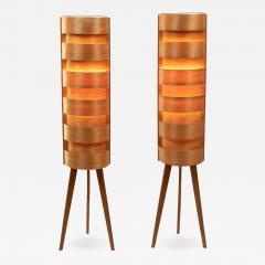 Hans Agne Jakobsson 1960s Hans Agne Jakobsson Wood Tripod Floor Lamps for AB Ellysett - 1190109