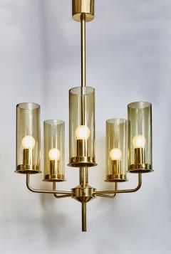 Hans Agne Jakobsson Brass and Glass Chandelier T434 5 by Hans Agne Jakobsson - 1173830
