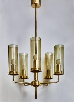Hans Agne Jakobsson Brass and Glass Chandelier T434 5 by Hans Agne Jakobsson - 1173832