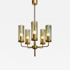 Hans Agne Jakobsson Brass and Glass Chandelier T434 5 by Hans Agne Jakobsson - 1175165