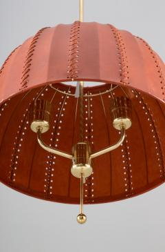 Hans Agne Jakobsson Midcentury Swedish Pendant in Brass and Leather by Hans Agne Jakobsson - 1384416