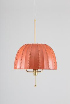 Hans Agne Jakobsson Midcentury Swedish Pendant in Brass and Leather by Hans Agne Jakobsson - 1384418