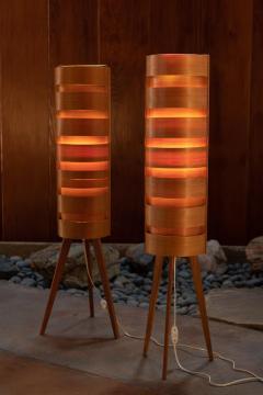 Hans Agne Jakobsson Pair of 1960s Hans Agne Jakobsson Wood Tripod Floor Lamps for AB Ellysett - 1181372