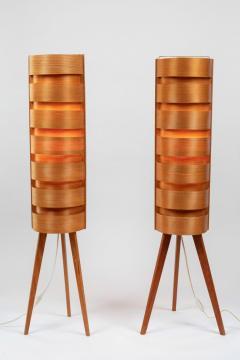 Hans Agne Jakobsson Pair of 1960s Hans Agne Jakobsson Wood Tripod Floor Lamps for AB Ellysett - 1181376