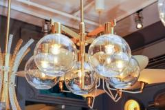 Hans Agne Jakobsson Pair of Brass and Glass Five Lights Chandeliers by Hans Agne Jakobsson - 894221