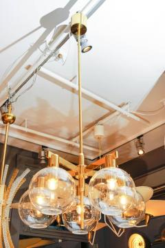 Hans Agne Jakobsson Pair of Brass and Glass Five Lights Chandeliers by Hans Agne Jakobsson - 894222