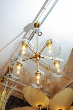 Hans Agne Jakobsson Pair of Brass and Glass Five Lights Chandeliers by Hans Agne Jakobsson - 894223