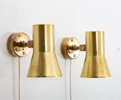 Hans Agne Jakobsson Pair of Swedish Brass Wall Lamps Model V 239 by Hans Agne Jakobsson - 1290866