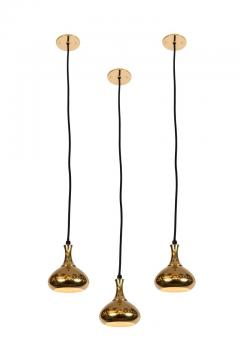 Hans Agne Jakobsson Set of 3 1950s Hans Agne Jakobsson Perforated Brass Pendants for Markaryd - 1079910