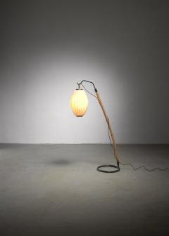 Hans Bergstr m Hans Bergstrom curved bamboo floor lamp - 2020180