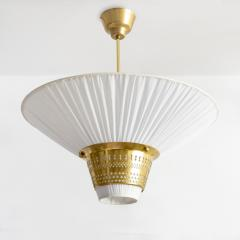 Hans Bergstr m Hans Bergstrom for Atelj Lyktan funnel form pierced brass and pleated pendant  - 1096858