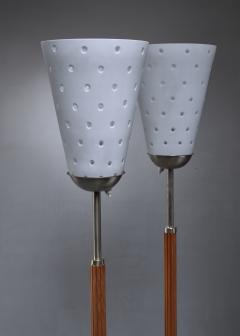 Hans Bergstr m Hans Bergstrom pair of brass and glass floor lamps Sweden - 1247086