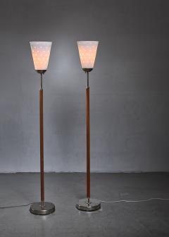 Hans Bergstr m Hans Bergstrom pair of brass and glass floor lamps Sweden - 1247087