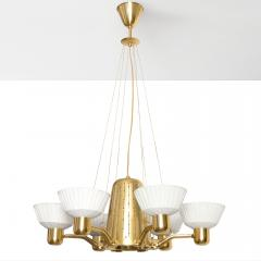Hans Bergstr m SCANDINAVIAN SIX ARM BRASS CHANDELIER WITH FABRIC SHADES  - 1094790