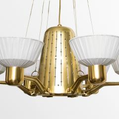 Hans Bergstr m SCANDINAVIAN SIX ARM BRASS CHANDELIER WITH FABRIC SHADES  - 1094792