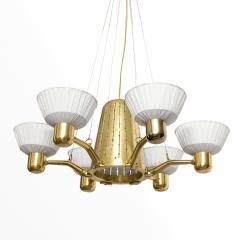 Hans Bergstr m SCANDINAVIAN SIX ARM BRASS CHANDELIER WITH FABRIC SHADES  - 1094811