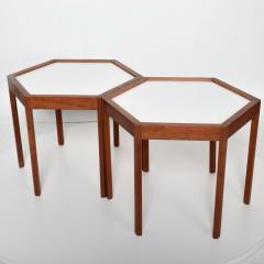 Hans C Andersen White Hexagonal Solid Teak Side Tables by Hans C Andersen 1960s DENMARK - 1989915