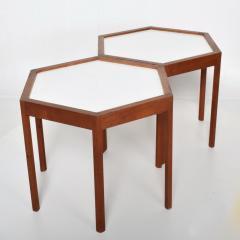 Hans C Andersen White Hexagonal Solid Teak Side Tables by Hans C Andersen 1960s DENMARK - 1989916