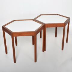 Hans C Andersen White Hexagonal Solid Teak Side Tables by Hans C Andersen 1960s DENMARK - 1989917