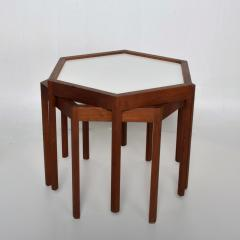 Hans C Andersen White Hexagonal Solid Teak Side Tables by Hans C Andersen 1960s DENMARK - 1989918