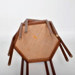 Hans C Andersen White Hexagonal Solid Teak Side Tables by Hans C Andersen 1960s DENMARK - 1989919