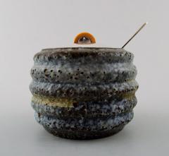 Hans Hansen Unique marmalade jar of bluish glazed stoneware with lid - 1313589