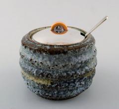 Hans Hansen Unique marmalade jar of bluish glazed stoneware with lid - 1313590