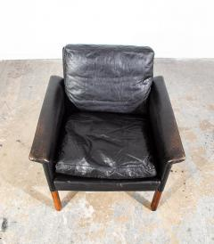 Hans Olsen Danish Leather and Rosewood Lounge Chair by Hans Olsen for CS Mobler - 1696089