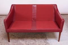 Hans Olsen Danish Modern Cranberry Leather Settee by Hans Olsen - 1162653