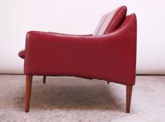 Hans Olsen Danish Modern Cranberry Leather Settee by Hans Olsen - 1162657