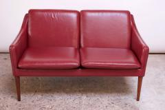 Hans Olsen Danish Modern Cranberry Leather Settee by Hans Olsen - 1162659