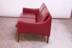 Hans Olsen Danish Modern Cranberry Leather Settee by Hans Olsen - 1162660