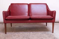 Hans Olsen Danish Modern Cranberry Leather Settee by Hans Olsen - 1162661