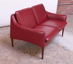 Hans Olsen Danish Modern Cranberry Leather Settee by Hans Olsen - 1162662