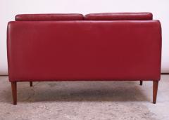 Hans Olsen Danish Modern Cranberry Leather Settee by Hans Olsen - 1162663