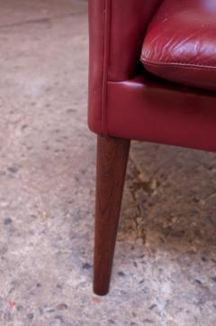 Hans Olsen Danish Modern Cranberry Leather Settee by Hans Olsen - 1162667