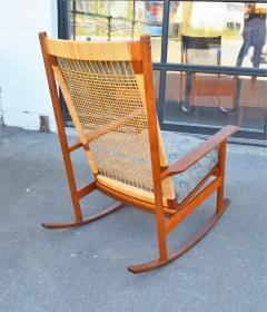 Hans Olsen Restored Teak Rocking Chair w Cane Back by Hans Olsen for Juul Kristiansen - 2058607