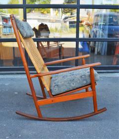 Hans Olsen Restored Teak Rocking Chair w Cane Back by Hans Olsen for Juul Kristiansen - 2058610