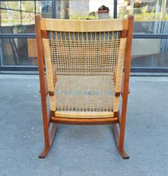 Hans Olsen Restored Teak Rocking Chair w Cane Back by Hans Olsen for Juul Kristiansen - 2058634