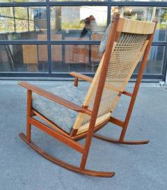 Hans Olsen Restored Teak Rocking Chair w Cane Back by Hans Olsen for Juul Kristiansen - 2058650