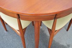 Hans Olsen Teak Hans Olsen Roundette Dining Set w 4 Three Legged Nesting Chairs - 2126633