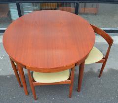 Hans Olsen Teak Hans Olsen Roundette Dining Set w 4 Three Legged Nesting Chairs - 2126635