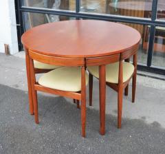 Hans Olsen Teak Hans Olsen Roundette Dining Set w 4 Three Legged Nesting Chairs - 2126637